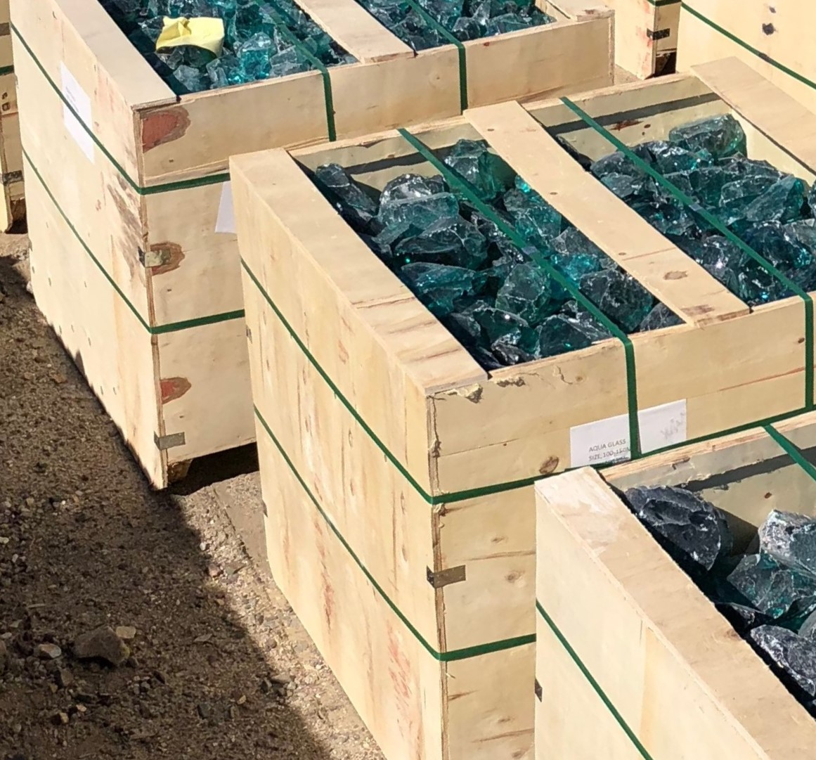 "Blue Ice Glass Packaging - Black Lava Pebble 1""-2"""