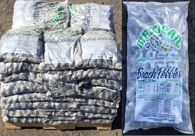 "75 lb bag beach pebble pallet split - Black Lava Pebble 1""-2"""