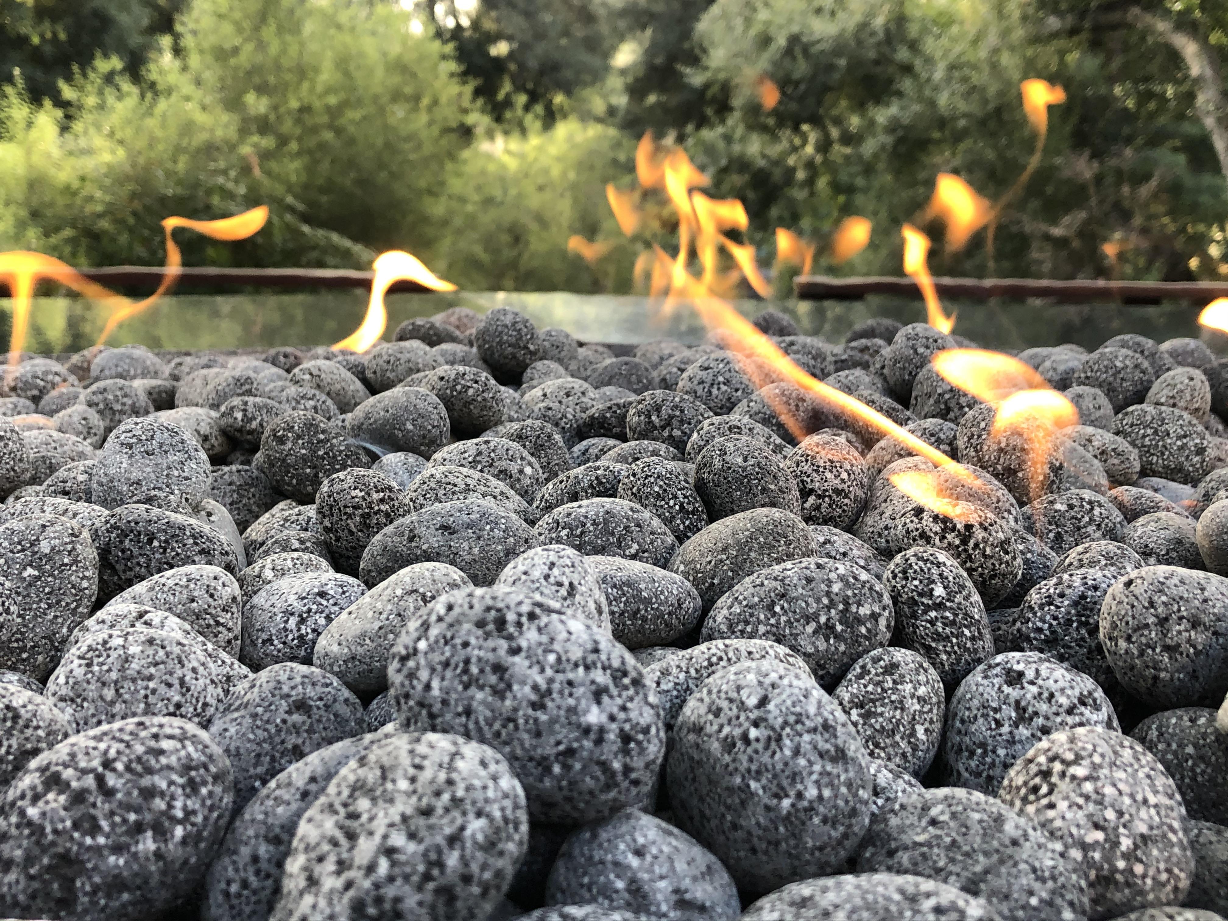 Black Lava Pebble Fire Pit
